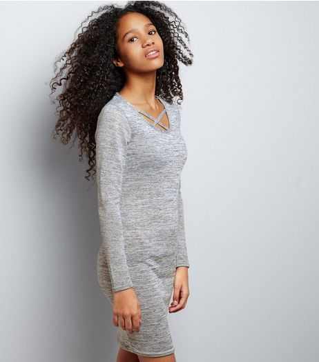 Teens Grey Fine Knit Cross Front Bodycon Dress | New Look