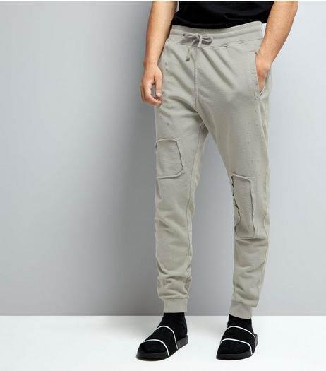 Stone Patch Detail Ripped Joggers | New Look