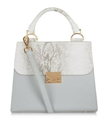 Pale Blue Snakeskin Texture Panel Lady Bag