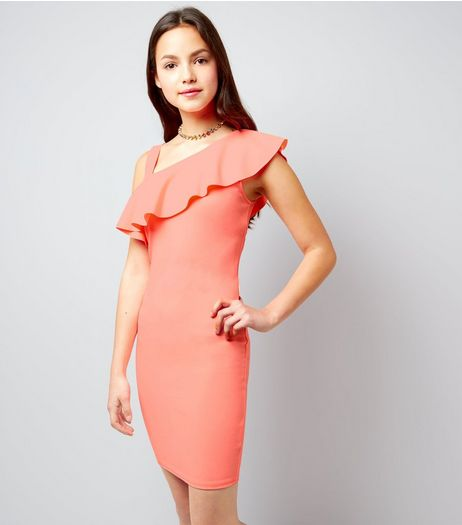 Teens Coral Asymmetric Frill Trim Bodycon Dress | New Look
