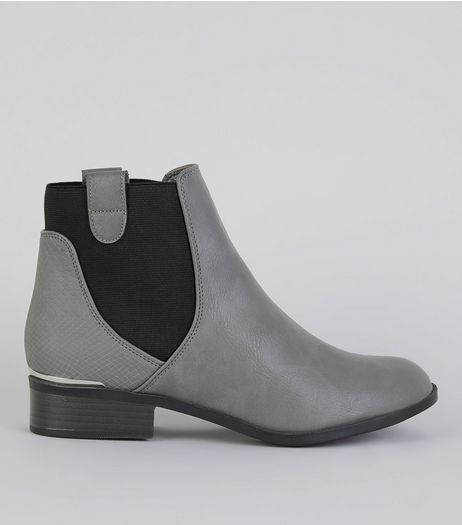 Grey Elasticated Sides Metal Trim Boots | New Look