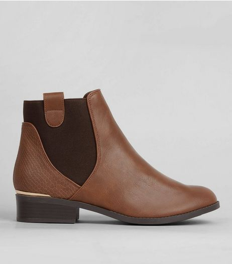 Tan Elasticated Sides Metal Trim Boots | New Look