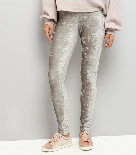 Grey Velvet Leggings  | New Look