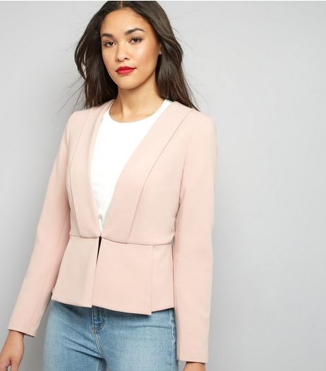 Shell Pink Peplum Hem Blazer   | New Look