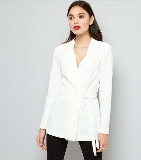 White Tie Waist Blazer | New Look