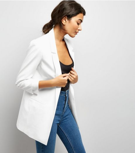 White Ruched Sleeve Blazer | New Look