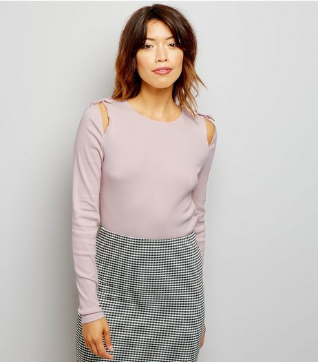 Pink Cut Out Tie Shoulder Top | New Look