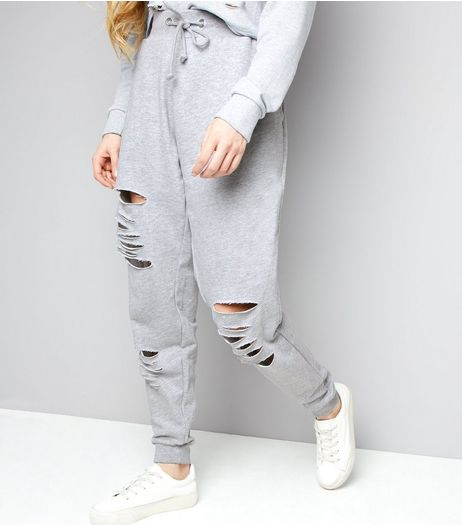 Parisian Pale Grey Ripped Joggers  | New Look