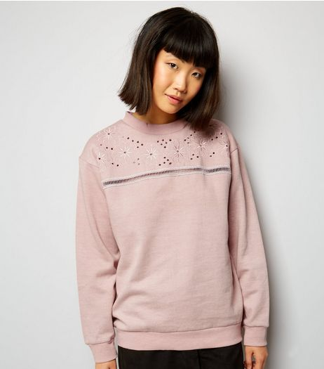Parisian Shell Pink Floral Embroidered Cut Out Jumper | New Look