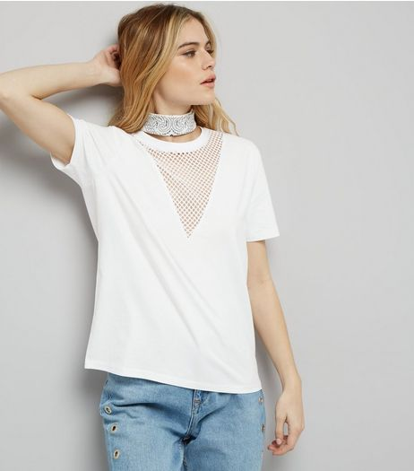 White Mesh Panel T-Shirt  | New Look