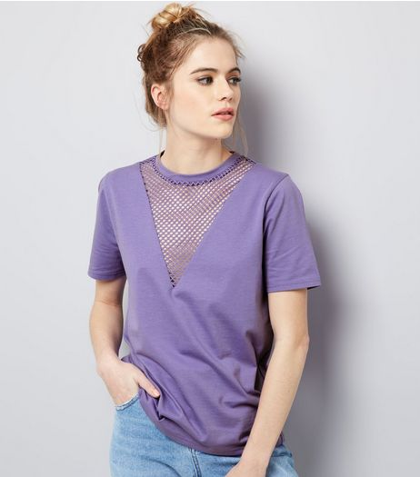 Purple Mesh Panel T-Shirt | New Look