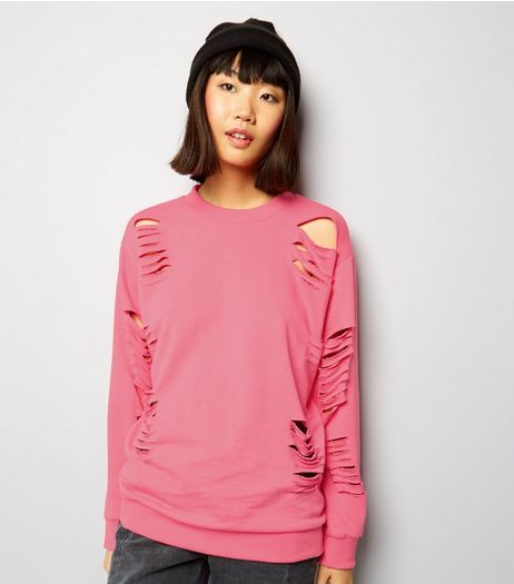Parisian Bright Pink Cut Out Sweater | New Look