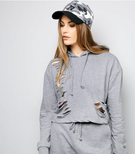Parisian Pale Grey Cut Out Hoodie  | New Look