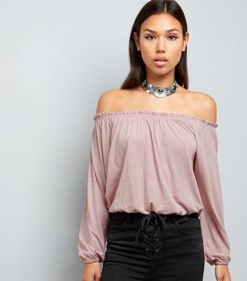 Pink Bardot Neck Long Sleeve Top