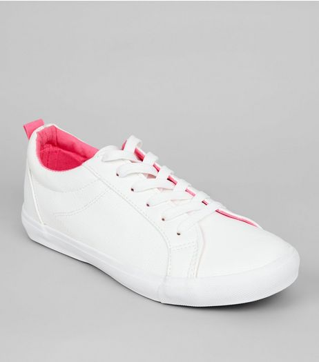 White Contrast Lining Lace Up Trainers  | New Look