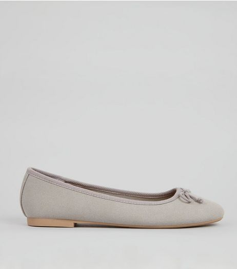 Grey Ballerina Slip on Shoes  | New Look