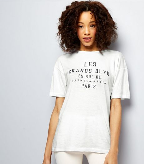 White Les Grandes BLVD Boyfriend T-Shirt | New Look