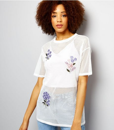 White Floral Badge Mesh Short Sleeve T-Shirt  | New Look