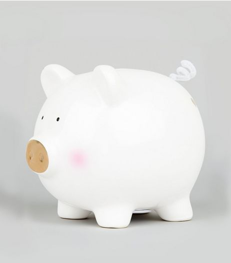 White Piggy Bank | New Look