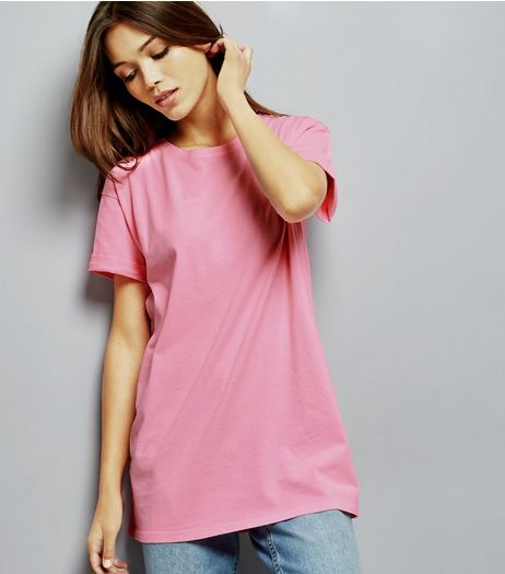 Bright Pink Roll Sleeve Boyfriend T-Shirt  | New Look