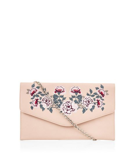 Pink Floral Embroidered Clutch | New Look