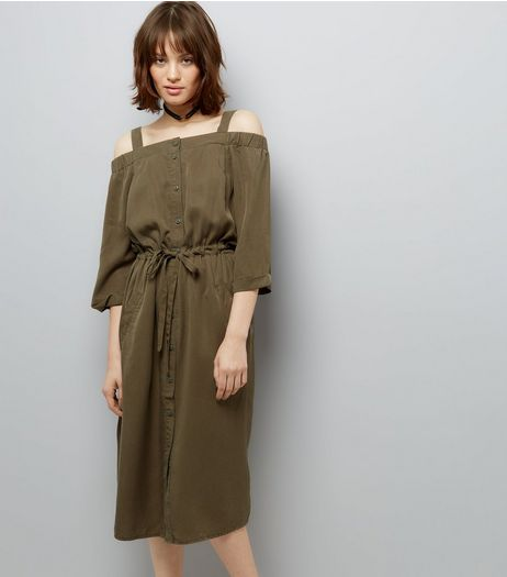 Khaki Tie Waist Cold Shoulder Midi Dress  | New Look