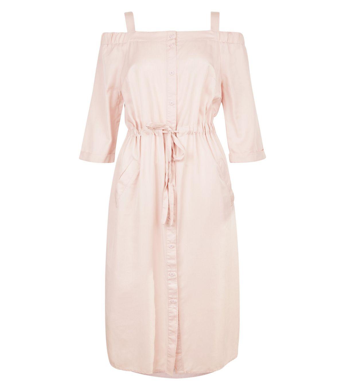 Mid Pink Cold Shoulder Midi Dress  | New Look