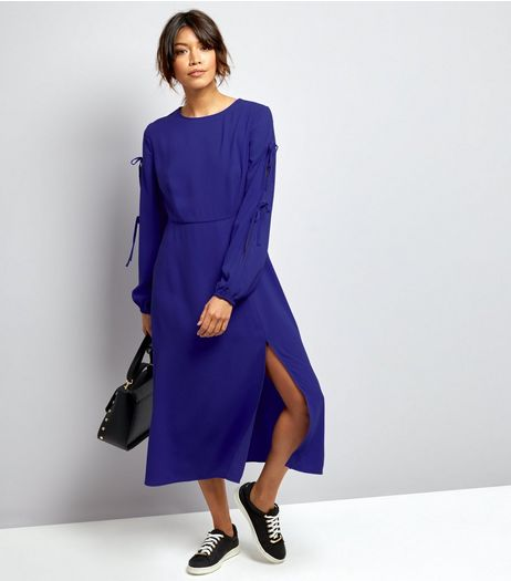 Blue Tie Sleeve Split Side Midi Dress  | New Look