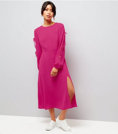 Bright Pink Tie Sleeve Split Side Midi Dress  | New Look