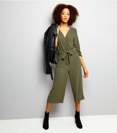 Khaki Wrap Front Cropped Jumpsuit  | New Look