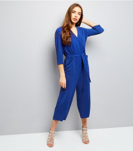 Blue Wrap Front Cropped Jumpsuit  | New Look