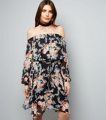 Black Chiffon Floral Print Bardot Neck Dress