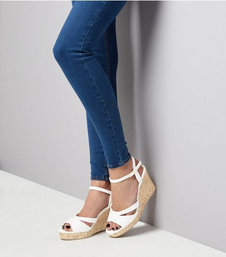 Wide Fit White Cork Wedged Heels | New Look