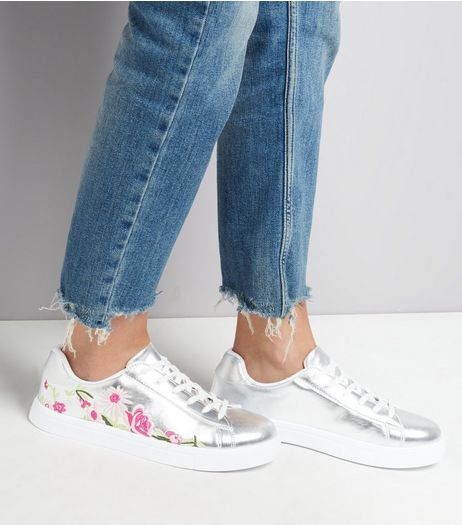 Silver Floral Embroidered Trainers  | New Look