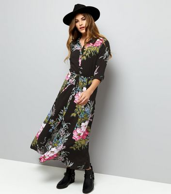 Black Floral Print 1/2 Sleeve Maxi Shirt Dress