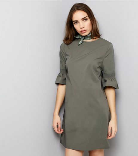 Khaki Bell Sleeve Tunic Dress  | New Look