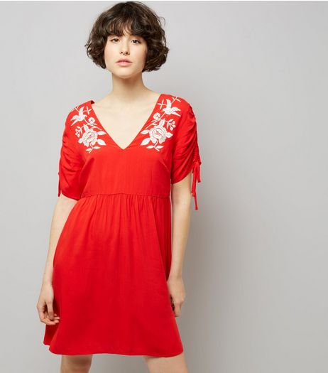 Red Floral Embroidered Smock Dress  | New Look