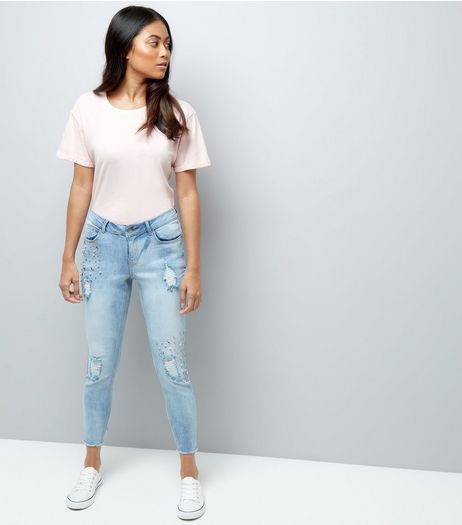 Petite Blue Gem Detail Ripped Skinny Jeans | New Look