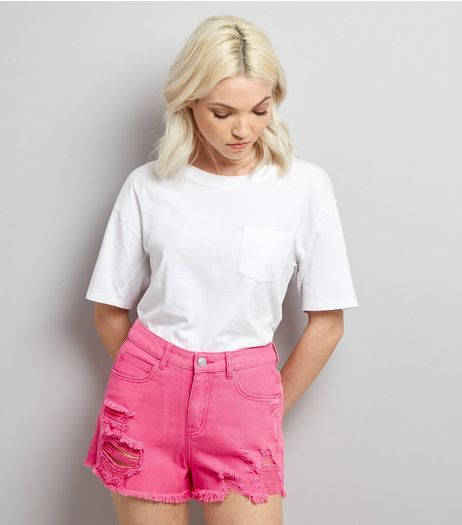 Petite Pink Ripped High Waist Denim Shorts | New Look