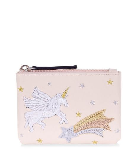 Pink Unicorn Embroidered Zip Top Purse | New Look