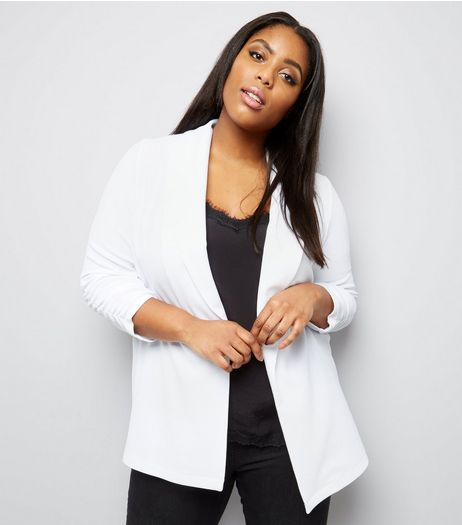 Curves White Crepe Ruched Sleeve Blazer | New Look