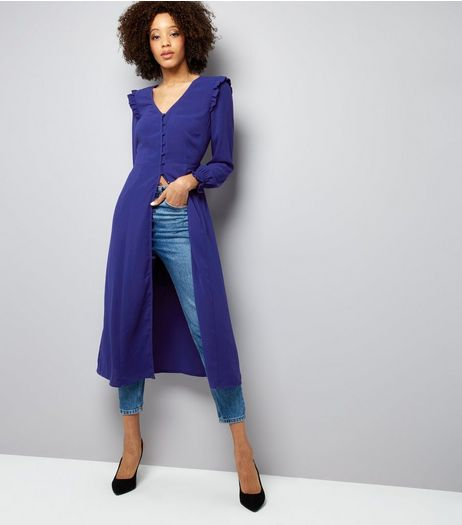 Blue Button Front Long Sleeve Midi Dress  | New Look