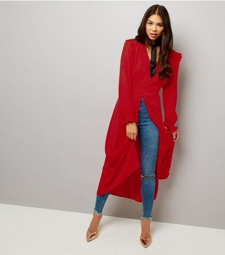 Red Button Front Long Sleeve Midi Dress  | New Look
