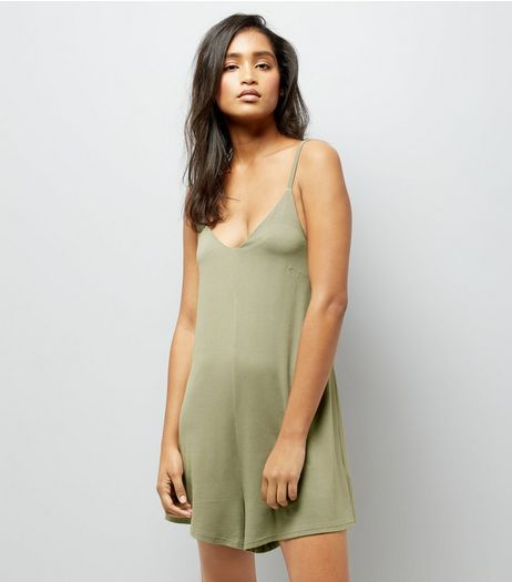 Khaki Cross Strap Back Playsuit | New Look