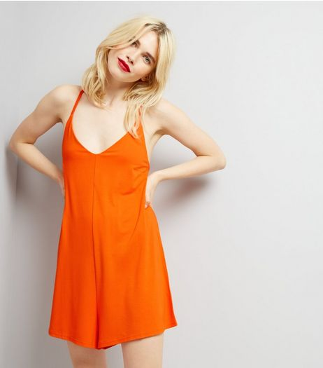 Orange Jersey Cross Back Strap Playsuit | New Look