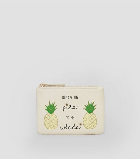 Cream Pina Colada Slogan Purse | New Look