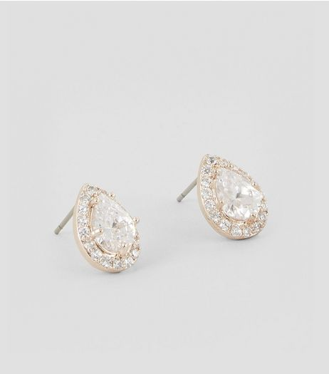 Rose Gold Cubic Zirconia Teardrop Stud Earrings | New Look