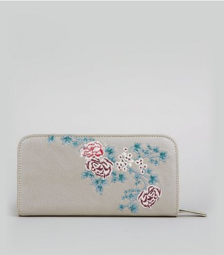 Silver Metallic Floral Embroidered Purse | New Look