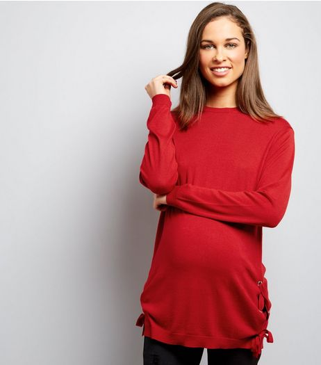 Maternity Red Eyelet Tie Side Jumper | New Look