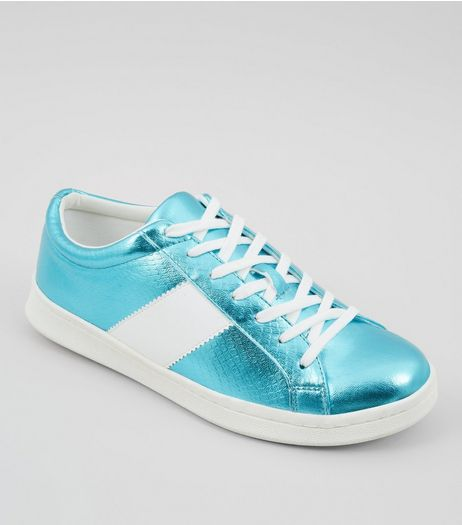 Blue Metallic Lace Up Trainers | New Look